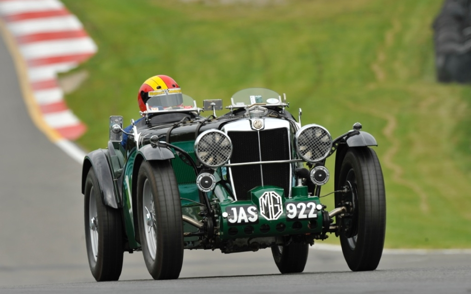 Burt in a pre-war MG racer at Watkins Glen